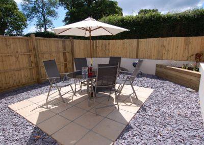 The patio at The Furrow, Tedburn St Mary