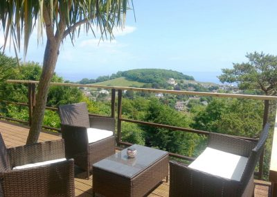 The decked terrace at The Garden Flat, Moorings Apartments, Torquay