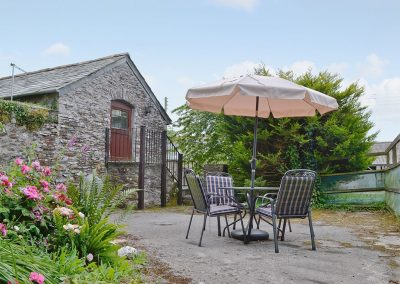 The patio at The Granary, Egloskerry