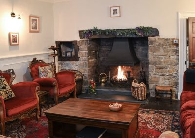 The living area at The House of Black and White, Great Torrington is festively decorated for Christmas