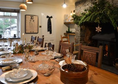 The dining area at The House of Black and White, Great Torrington is festively decorated for Christmas