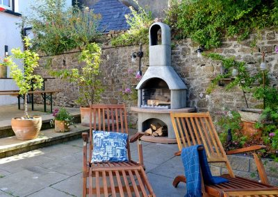 The patio & barbecue area at The House of Black and White, Great Torrington