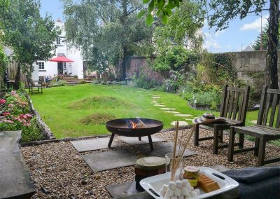 The garden & barbecue area at The House of Black and White, Great Torrington