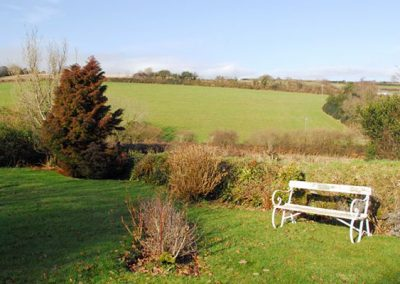 The view of the Devon countryside from the garden