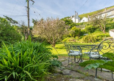 The patio & garden at The Manor House, Port Isaac