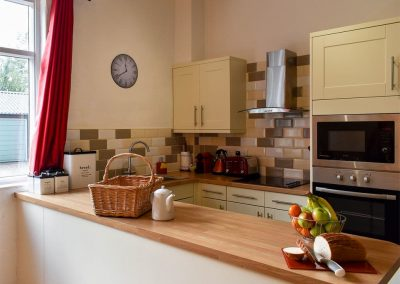 The kitchen at The Mews, Glebe House Cottages, Bridgerule