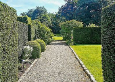 The well manicured gardens at Glebe House Cottages, Bridgerule