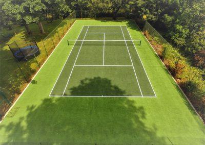 The tennis court at Glebe House Cottages, Bridgerule