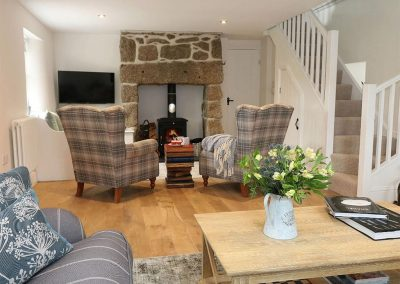 The living area at The Old Forge, Bosavern