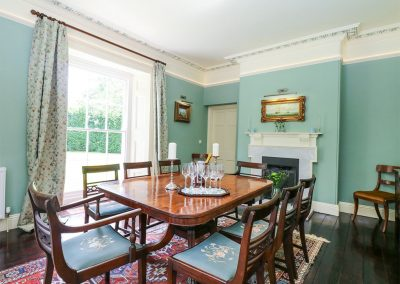 The formal dining room at The Old Vicarage, St Issey