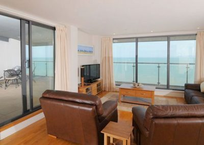 The living area @ The Penthouse, Nassau Court, Westward Ho! boasts spectacular views