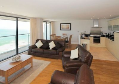 The open-plan living area @ The Penthouse, Nassau Court, Westward Ho!