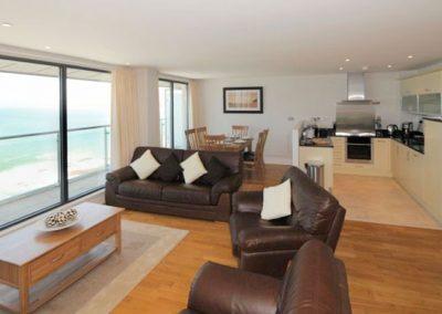 The open-plan living area @ The Penthouse, Nassau Court, Westward Ho!