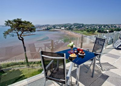 The terrace at The Riviera Mansion, Torquay offers superb marina, beach & sea views!