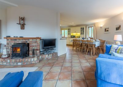 The living area at The Roundhouse, Roserrow, Polzeath