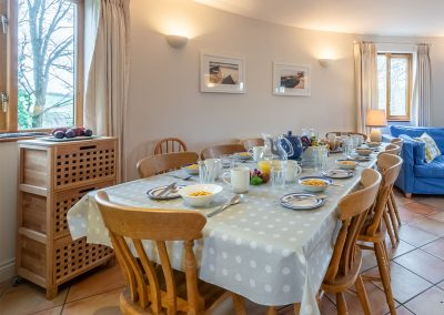 The dining area at The Roundhouse, Roserrow, Polzeath
