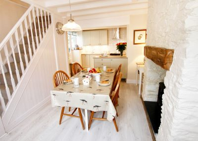 The dining area at The Shell Seekers, Fowey