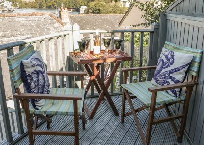 The decked patio at The Shell Seekers, Fowey