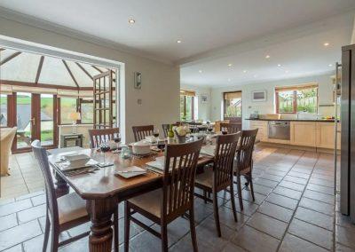 The dining area at The Summerhouse, Roserrow, Polzeath