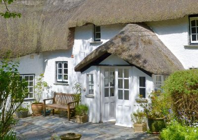 The patio at The Thatch Cottage, South Petherwin