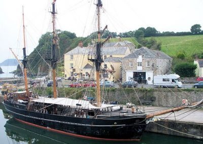 Tallships moored in nearby Charlestown harbour