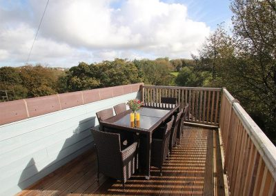 The decked balcony at Tree Tops, Camelford