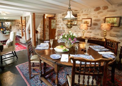 The dining area at Tregadjack Farmhouse, Prospidnick