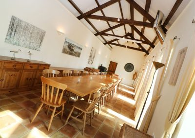 The dining room at Tregoninny Vineyard and Woodland Farmhouse, Tresillion
