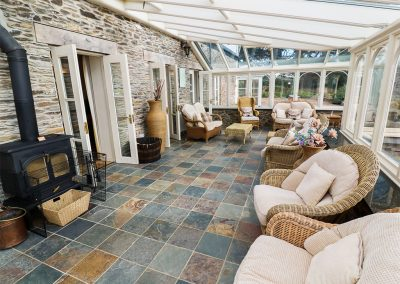 The conservatory at Tregoninny Vineyard and Woodland Farmhouse, Tresillion