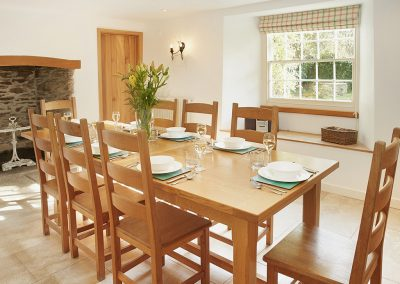 The dining area at Trencreek Farmhouse, Tregony