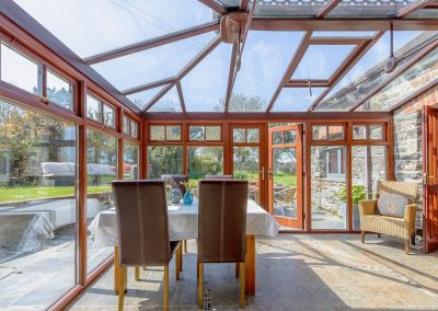 The conservatory at Trescowthick Barn, St Newlyn East