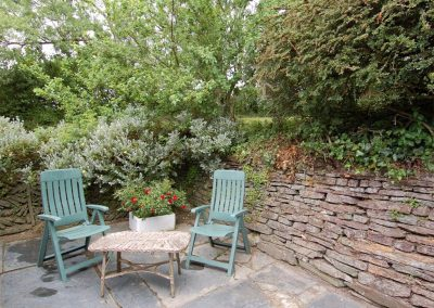 The outdoor patio at Trevalley, Pendoggett