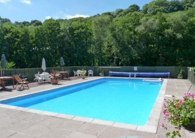The shared heated swimming pool at Trevellard Belle, Notter