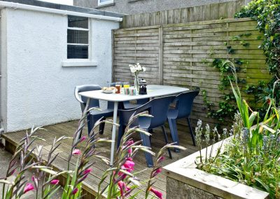 The decked patio at Trevistas, Padstow