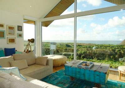 The open-plan living area at Trevose View, Widemouth Bay