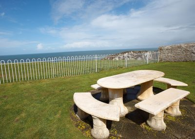 The shared garden & seating area at Bull Point Lighthouse, Mortehoe