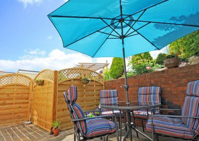 The patio area is ideal for al fresco dining @ Two Beaches, Paignton