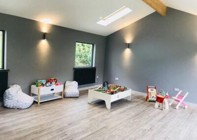 The children's indoor games room at West Charleton Grange, West Charleton