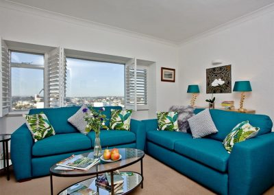 The living area at Vane Tower, Torquay