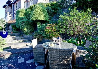 The outdoor patio at Vane Tower, Torquay