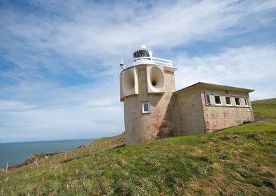 The light & fog horn (no longer in use) at Bull Point Lighthouse, Mortehoe