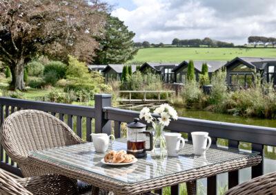 The decked terrace & alfresco dining area at Watermouth Lodge, Kentisbury Grange, Kentisbury
