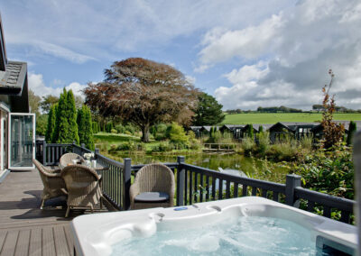The hot tub & decked terrace at Watermouth Lodge, Kentisbury Grange, Kentisbury