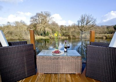 The decked terrace at Waters Edge, Lakeview Manor, Dunkeswell