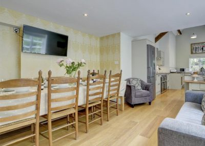 The dining area at Watersmeet Cottage, Lynmouth