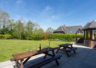 The patio at Webbs Retreat, Roserrow, Polzeath