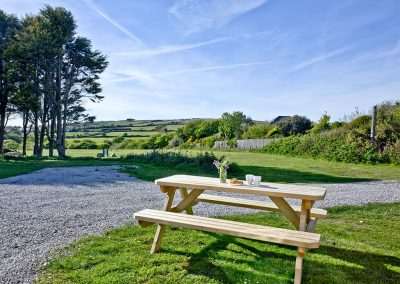 The picnic table & garden at Wheal Prosper, Whealdream, Wendron