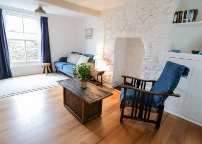 The living area at Wickham Cottage, Calstock