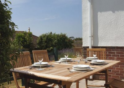 The outdoor patio at Woodbury, Teignmouth