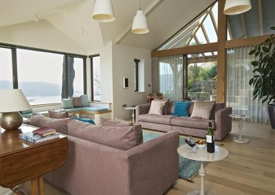 The living area at Woodwell, Salcombe